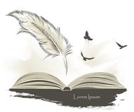 Old feather paint with flying birds and open book. Writing old feather paint with flying birds and open book Royalty Free Stock Photo