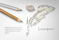 Old feather paint with two pencils and eraser. Art old feather paint with two pencils and eraser with your text Stock Image