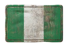Old Federal Republic of Nigeria flag. 3d rendering of a Federal Republic of Nigeria flag over a rusty metallic plate. Isolated on white background Royalty Free Stock Images
