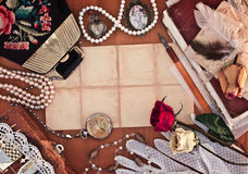 Old female jewelry, bag. And white lace gloves Royalty Free Stock Image