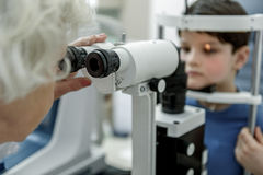 Old female oculist verifying vision of child. Mature ophthalmologist is afore little boy sitting in chair. She using special optic equipment for checking health Stock Image