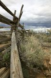 Old fence. Old rail fence in desert Royalty Free Stock Photography
