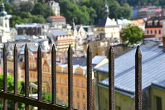 An old fence above Karlovy Vary Royalty Free Stock Image