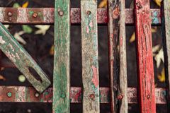 Old fence boards. Benches, painted, paint will cloud and deteriorate with time, color Stock Image