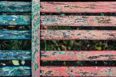 Old fence boards. Benches, painted, paint will cloud and deteriorate with time, color Stock Images