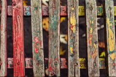 Old fence boards. Benches, painted, paint will cloud and deteriorate with time, color Stock Photos