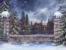 Old fence with a garland Royalty Free Stock Image