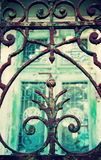 Old fence. Ornamental grille of an old fence in old town Royalty Free Stock Images