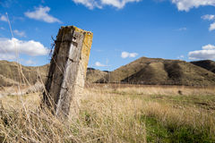 And old fence post in tall grass Stock Image