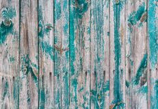 Old fence with the remnants of green paint Royalty Free Stock Image