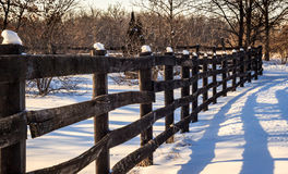 Old Fence on a Snowy Farm Stock Image