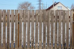 Old fence of wooden boards as background.  stock photography