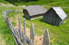Old Fence And Wooden Hut In Montenegro. Old fence and wooden hut in `Biogradska Gora` National Park, Montenegro royalty free stock photo