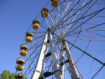 An old ferris wheel. In a small town royalty free stock images