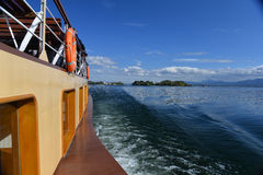 Old ferry crossing the Chiemsee lake, Bavaria, Germany Royalty Free Stock Images