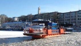 Old ferry `Fiori` close-up on the freezing river Aura. Turku, Finland. TURKU, FINLAND - FEBRUARY 23, 2018: Old ferry `Fiori` close-up on the freezing river Aura stock video