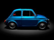 Old Fiat 500 5. 3D render of Fiat 500 on black background Stock Image
