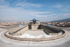 Old Fiat Factory in Turin Italy, built in the 1920s. On the roof the original test track still exists and is open to the public. Turin, Italy. The old Fiat stock images
