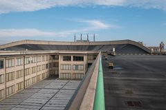 Old Fiat Factory in Turin Italy, built in the 1920s. On the roof the original test track still exists and is open to the public. Turin, Italy. The old Fiat royalty free stock photography