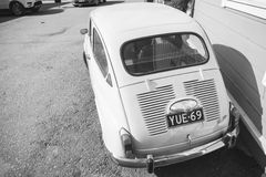 Old Fiat 600, Italian city car, rear view. Porvoo, Finland - May 7, 2016: Old Fiat 600 city car produced by the Italian manufacturer Fiat from 1955 to 1969 royalty free stock photos