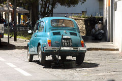 Old Fiat 500 on a jack Royalty Free Stock Photos