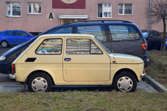 Old Fiat 126p parked Stock Images
