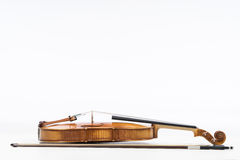 The old fiddle, isolated on white background. Viola, Instrument for music Royalty Free Stock Image
