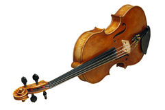 Old fiddle with path. Old fiddle isolate in the white background with clipping path royalty free stock photo