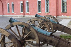 The old field cannons in a row royalty free stock photography