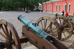 The old field cannons on the square of Naryshkin bastion royalty free stock image