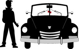 Old fifties roadster. Fifties roadster with greaser dude in silhouette standing beside it Royalty Free Stock Photos
