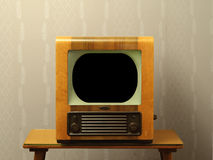 Old Fifties Television. Nineteen-fifties television and table Royalty Free Stock Photos