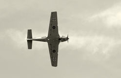 Old fighter airplane in black and white Stock Photography