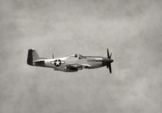 Old fighter airplane in flight Stock Photo