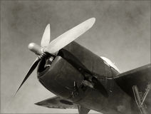 Old fighter airplane nose view stock images
