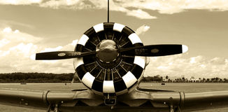 Old fighter plane engine sepia Royalty Free Stock Photography
