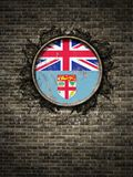 Old Fiji flag in brick wall. 3d rendering of a Fiji national flag over a rusty metallic plate embedded on an old brick wall Stock Images