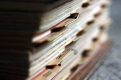 Old Files. On a pile, close-up royalty free stock images