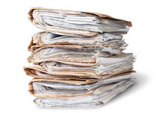 Old Files Arranged In Chaotic Stack Rotated Stock Photography