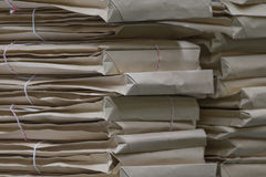 Old files in envelope paper stacking. Up in a messy order Royalty Free Stock Image