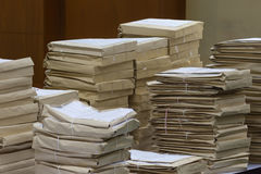 Old files in envelope paper stacking. Up in a messy order Royalty Free Stock Photo