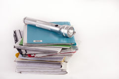Old files and flashlight Stock Images