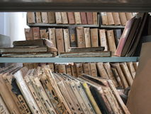 Old files in library. Library in Marsala on Sicily royalty free stock photography