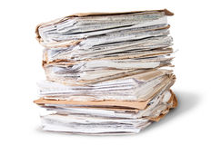 Old Files Stacking Up In A Messy Order Rotated. On White Background Stock Photography