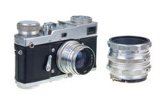 Old Film Camera And Lens Isolated Royalty Free Stock Photos