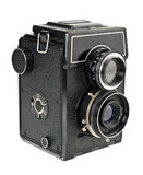 Old film camera cutout. Old two lens medium format film camera. Isolated on white with clipping path Stock Photos