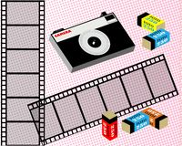 Old film camera, film, and film in the package. Coarse-grained background. Vector. Old film camera, film, and film in the package. Coarse-grained background stock illustration