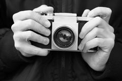 Free Old Film Camera In The Hands (Black And White) Stock Photos - 44664633