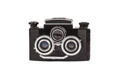 Old film camera isolated on white. Retro vintage film camera on white background Royalty Free Stock Photography