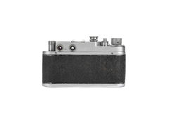 Old film camera isolated on white. Retro vintage film camera on white background Royalty Free Stock Images